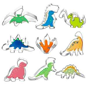 Dinosaur Cookie Cutter Set, 9pcs-Brontosaurus Stegosaurus etc Cookie Cutter Molds for Kids Birthday and Dinosaur Party Supplies Favors with 40 Candy Bags