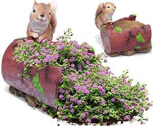 Garden Flower Pot Outdoor Planters, Spilled Succulent Plant Pots Squirrel Gardening Gifts for Christmas Sculpture Statues for Patio Yard Balcony