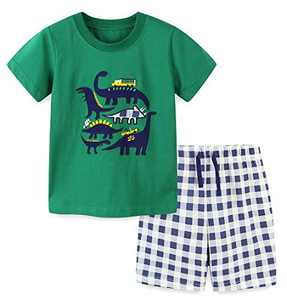 Boys Short Sets Summer Outfits Cotton Casual Crewneck Green Dinosaur Short Tee Shirt Plaid Shorts Beach Clothes Sets Size 6