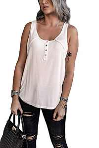 OWIN Women's Summer Sleeveless Henley Tank Tops Scoop Neck Ribbed Button Up Shirts Casual Vest Blouse Tees White