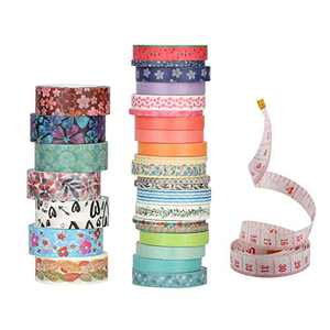 Washi Tape Set,28 Rolls 4 Sizes 15mm 8mm 7mm 3mm Wide Skinny Thin,Colored DIY Masking Tape,Decorative Holiday Craft Tape Scrapbook Supplies