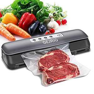 GEJRIO Vacuum Sealer Machine, Automatic Food Sealer for Food Savers with Starter Kit, Led Indicator Lights, Dry & Moist Food Modes, Vacuum Air Sealing System for Food Preservation