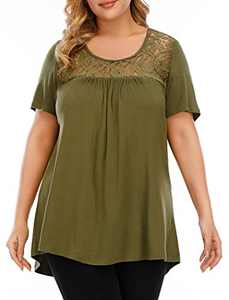 LINJOU Women's Plus Size Tops Flowy Casual Summer Lace Blouses Pleated Short Sleeve Cute Tunics T Shirts
