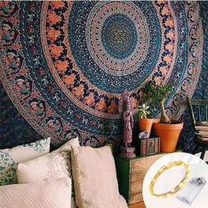 Indian-hippie-gypsy Bohemian-psychedelic Cotton-mandala Wall-hanging-tapestry-multi-color Large-mandala Hippie-tapestry with string light (Multi Color Mandala, Queen(84x90Inches) + String Light)
