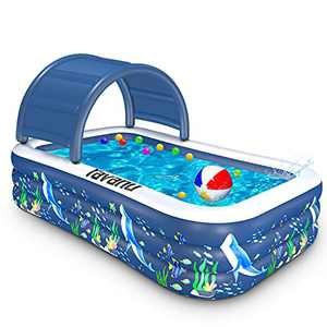 Cifaisi Inflatable Pool, 120 x 72 x 20inch Blow Up Pool with Removable Canopy Family Swimming Pool for Kids, Adults, Toddlers, Kiddie Pool for Backyard, Garden, Outdoor, Play Party