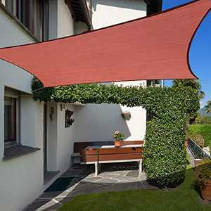 Cisvio Sun Shade Sail 10' x 13' Rectangle Rust Red UV Block Canopy for Patio Backyard Lawn Garden Outdoor Activities