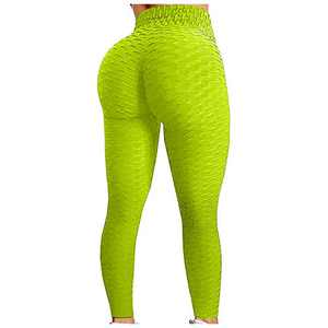 PLENTOP Ladies Sweatpants Yoga Pants Women High Waist Bubble Hip Lifting Fitness Sports Running Workout Leggings 2021 (Yellow, XL)