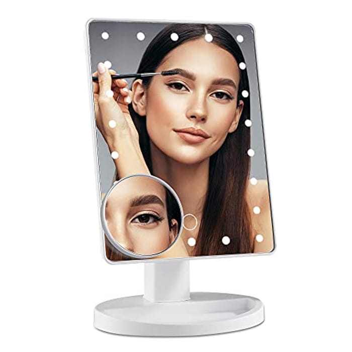 DUFU Makeup Mirror with 22 LED Lights with Touch Screen Switch and 10X Magnifying Round Vanity Mirror 180° Free Rotation Dual Power Supply Travel LED Cosmetic Mirror Black