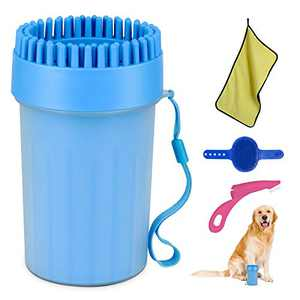 Dog Cat Paw Cleaner Cup Set,4 in 1 Silicone Dog Paw Washer Cup with Towel and Pet Grooming Bath Brush,Portable Pet Cleaning Brush for Puppy Cats Massage Grooming Dirty Claws