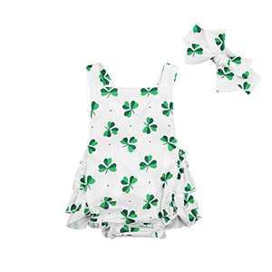 Newborn Baby Girl St Patrick 's Day Romper Ruffle Shamrock Bodysuit Strap Sleeveless One Piece Easter Clothes (0-6 Months, 2Shamrock)