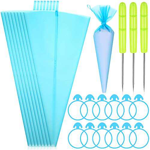 23 Pieces Cake Decorating Tools, Icing Piping Bags and Ties Set, Include 8 Pieces Reusable Icing Piping Pastry Bags, 12 Pieces Frosting Bags Ties and 3 Pieces Scriber Needles for Baking Supplies