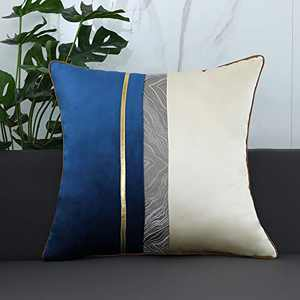 """QOPOYU Velvet Pillow Cover Decorative Pillow Super Soft Square Pillowcase Gold Leather Striped Patchwork Luxury Modern Cushion Case for Sofa Couch Bedroom Car Living Room 18""""x18"""" Inch Blue"""