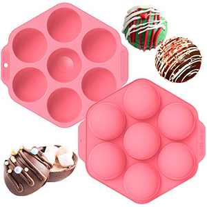 Chocolate Bomb Mold, 2 Packs Semi Sphere Silicone Molds For Baking,7 Holes Round Silicone Baking Mold, Half Ball Sphere Silicone Cake Mold Making Hot Chocolate Bomb, Jelly (pink)
