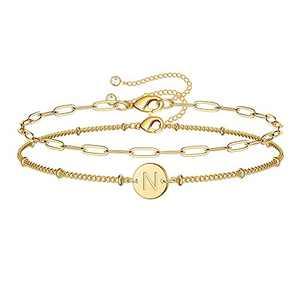 Iefil Gold Initial Bracelets for Women, 14K Gold Filled Layered Letter Initial Bracelet Paperclip Bracelets Bracelets Personalized 26 Alphabet Disc Monogram Charm Bracelet Jewelry Gifts for Girls