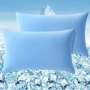 Elegear Cooling Pillow Case 2 Pillowcase with Super Elastic Gentle Skin and Hair Pillow Cover with Premium Arc-Chill Japanese Cooling Fiber Breathable Super soft pillowcase(Blue,50*75cm)
