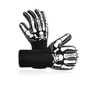 HOOBUY Heat Resistant Grill BBQ Gloves with Fingers Smoker Fire Proof-1472℉ Oven Mitts for Cooking, Baking,Grilling, Welding, Barbecue Extra Long Cuff (White, One Size Fits Most)
