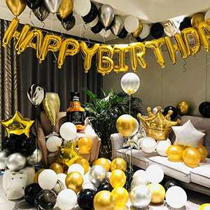 112pcs Luxurious Black Gold Party Decorations include Happy Birthday Letter Aluminum Foil Balloons Party Set Birthday Decorations for Men Women Boys Girls