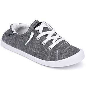 JENN ARDOR Women's Slip-On Sneakers Fashion Canvas Sneakers Lightweight Comfort Low Top Casual Shoes Lace-up Classic Walking Shoes Black Grey