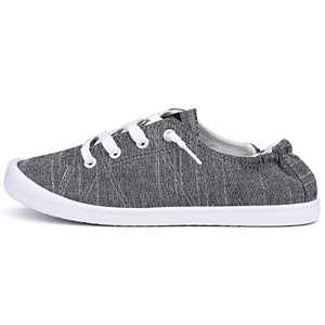 JENN ARDOR Women's Slip On Shoes Low Top Canvas Sneakers Casual Shoes Walking Flats Comfortable and Lightweight Black Grey