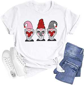 Shiny Gnomes Cartoon Print Shirts for Women Mother's Day Cute Hearts Graphic Short Sleeve Casual Tops (White, L)