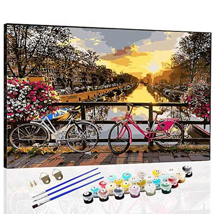Paint by Numbers for Adults Beginners Paint by Numbers Kits for Kids Painting by Numbers DIY Acrylic Oil Painting Kit Bike16x20 inch Pre-Printed Canvas for Christmas,New Yew,Birthday(Without Frame)