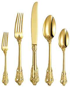 KEAWELL Gorgeous Gold Flatware Box Sets of Steel Knives and Forks,Heavy Tableware Antique Gold Flatware Set,Gold Flatware 18/10 Service for 4,Antique Baroque Gold-plated Style Flatware Set