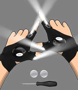 Stocking Stuffers Christmas Gifts for Men, LED Flashlight Gloves, Cool Gadgets Stuff Gifts for Dad Husband Boyfriend Him, Hands-Free Lights Fingerless Gloves for Car Repairing, Night Fishing, Camping