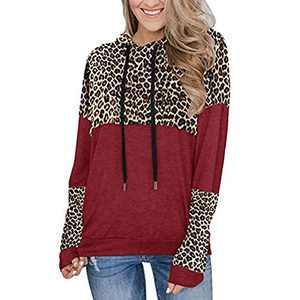 WRHJSAT Women's Long Sleeve Tops Loose Leopard Print Casual Color Block Tunic Fashion Hoodies Sweatshirt (A1-wine red, L)