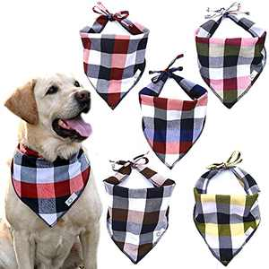Bandana for Dogs | Durable Flannel Fabric Plaid Dog Bandana Pack of 5 | Adjustable fit Dog Bandanas for Large Dogs-Extra Thick Washable Cooling Pet Bandana for Small Puppy Medium Big Pets