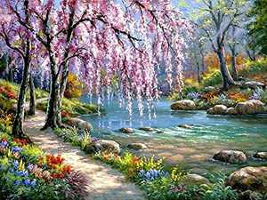 ALTRUB Large Size (Canvas Size: 17.7 x 13.8 inch) DIY 5D Diamond Painting Kits for Adults and Kids, Full Round Drill Crystal Rhinestone Embroidery Arts Craft for Wall Decor - Spring Landscape