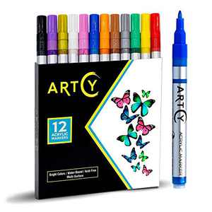 Acrylic Paint Pens - 12 Acrylic Paint Markers Extra Fine Tip (0.7mm)   Great for Rock Painting, Canvas, Glass, Porcelain, Fabric, Paper, Pottery and Plastic