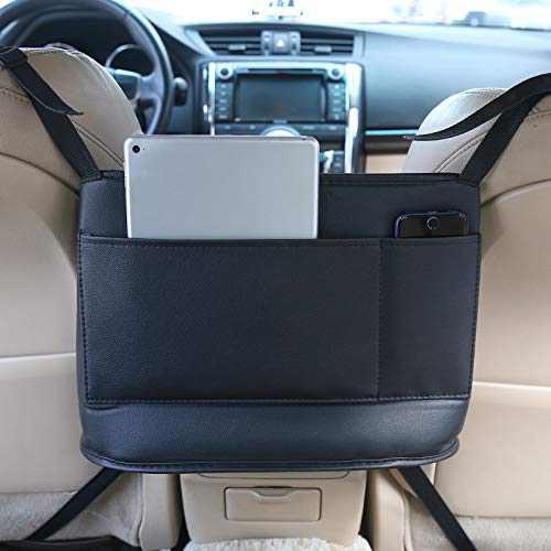 Purse Holder for Car, ONEDONE Leather Car Purse Holder w/Pockets for iPad, Phone, Car Handbag Holder Between Front Seats,Car Seat Organizers Storage for Purse Handbag