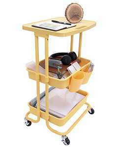 StorageWorks 3-Tier Rolling Organizer Cart with Tabletop, Rolling Storage Cart with Lockable Wheels for Kitchen Bedroom Bathroom Classroom, Yellow