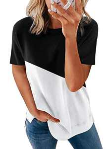 Astylish Women's Summer Casual Sexy Short Sleeve Crewneck Color Block Tee Loose Tops Tshirts for Womens