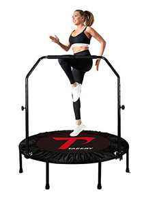 """TAEERY 48"""" Foldable Fitness Trampo-Lines, Rebound Recreational Exercise Trampo-line with 4 Levels Height Adjustable Foam Handrail for Kids and Adults Indoor&Outdoor, Max Load 440lbs"""