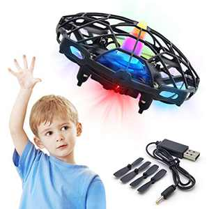 Hand Drone for Kids or Adult Mini UFO Drone Toys with Shinning LED Lights Flying Ball Drone for Boys and Girls Motion Sensor Helicopter Outdoor and Indoor (Black)