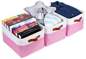 WANMEI Foldable Storage Bin [3-Pack] Collapsible Sturdy Cationic Fabric Storage Basket Cube W/Handles for Organizing Shelf Nursery (Pink and White, Large - 15.7 x 12.6 x 9.8-3 Pack)