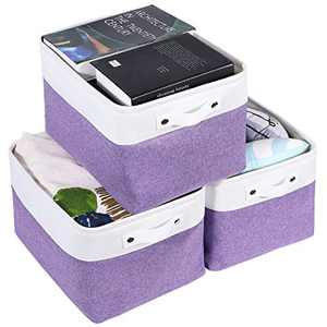Collapsible Storage Bin,Foldable Sturdy Fabric Storage Basket Cube with Handles for Organizing Shelf Nursery Toy Closet (Purple and White ,15x11x9.5 inch - 3 Pack)