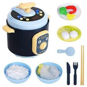 CestMall Kitchen Toy Set, Pretend Play Cooking Accessories Toys with Simulation Rice Cooker and Various Play Food, Realistic Cooking Toys with Simulate Steam/Light/Music, for Kids Boys and Girls