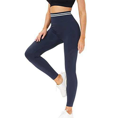 Women's High Waist Yoga Pants Workout Tummy Control Leggings Butt Lift Tights (Blue, S)