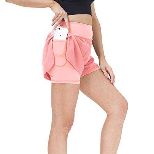 snowhite Running Shorts for Women 2 in 1 High Waist Athletic Workout Gym Yoga Spandex Shorts for Women with Phone Pocket Pink