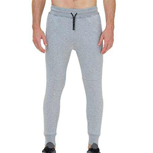 snowhite Men's Jogger Sweatpant with Pockets, Cargo Fashion Men's Sports Trousers Pants with Elastic Waistband Light Gray