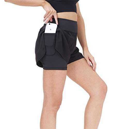 snowhite Running Shorts for Women 2 in 1 High Waist Athletic Workout Gym Yoga Spandex Shorts for Women with Phone Pocket Black