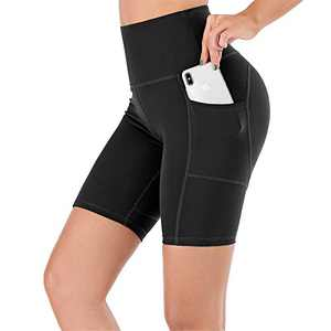 """UBFEN Women's High Waist Yoga Shorts Workout Athletic Shorts for Tummy Control Running Sports Pants with Pockets A Black 8"""" Large"""