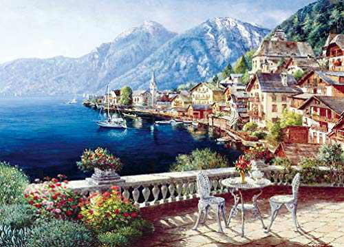 """Puzzles for Adults 1000 Piece, Jigsaw Puzzles 1000 Pieces for Adults-European Town, Educational Intellectual Fun Puzzle Games for Kids Adults Toys 27.5"""" x 19.6"""" in"""