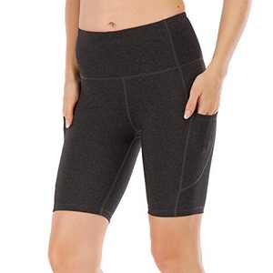 UBFEN Women's High Waist Yoga Shorts Workout Athletic Shorts for Tummy Control Running Sports Biker Pants with Pockets B Black 4 X-Large