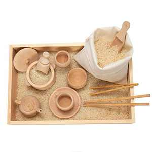 Set of 12 Toddlers Montessori Sensory Bin Tools- Wooden Waldorf Toys Dish Scoops and Tongs Set Educational Fine Motor Training Toys for Preschool Kids Children Toddlers Motor Transfer Work Learning