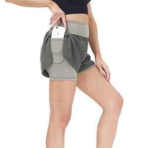snowhite Gym Shorts for Women, Women Shorts with Liner Workout Athletic Running Shorts Yoga High Waist Shorts with Phone Pockets Gray