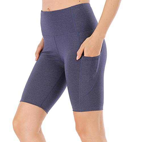 """UBFEN Women's High Waist Yoga Shorts Workout Athletic Shorts for Tummy Control Running Sports Pants with Pockets B Blue 8"""" Medium"""