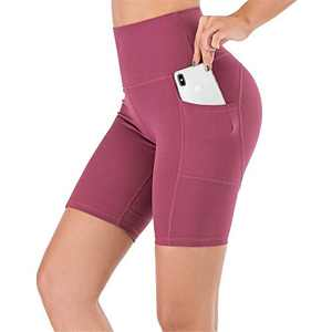UBFEN Women's High Waist Yoga Shorts Workout Athletic Shorts for Tummy Control Running Sports Biker Pants with Pockets A Red Large